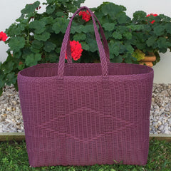 Purple Jumbo Market Basket Handwoven in Guatemala