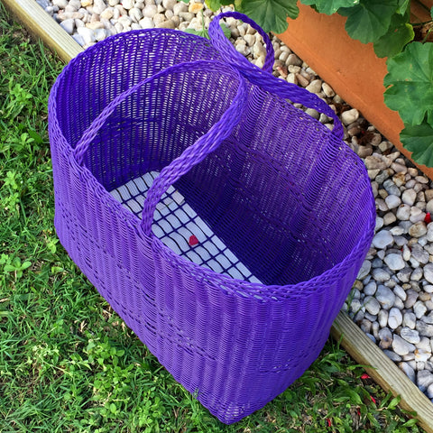Large Purple Traditional Basket Woven in Guatemala