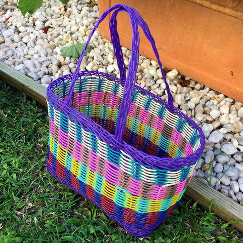 Extra Small Purple Multi Coloured Handwoven Basket Guatemala