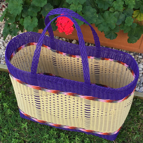 Purple and Natural Jumbo Market Basket Woven in Guatemala