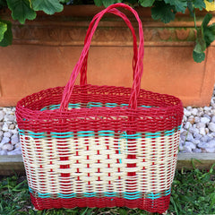 Extra Small Red and Natural Handwoven Basket Guatemala