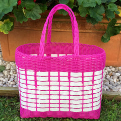 Small Pink and White Plastic Basket Woven by Guatemalan Artisans
