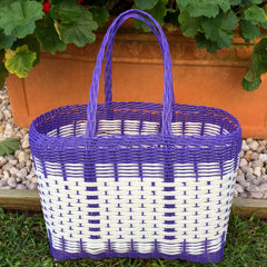 Small Purple and White Plastic Basket Woven by Guatemalan Artisans