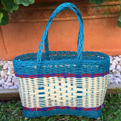 Extra Small Teal and Natural Handwoven Basket Guatemala
