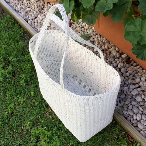 Shopping Basket Handwoven in Guatemala Medium Summer White
