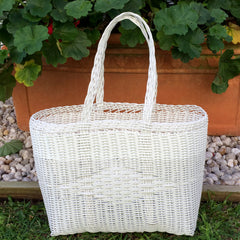 Small White Plastic Basket Woven by Guatemalan Artisans