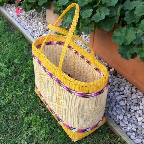 Large Yellow and Natural Traditional Basket Woven in Guatemala