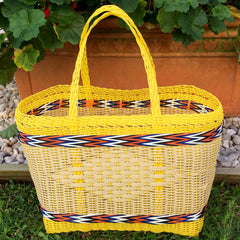 Small Yellow and Natural Plastic Basket Woven by Guatemalan Artisans