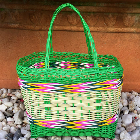 Little Girls Basket Lime and Natural Handwoven in Guatemala