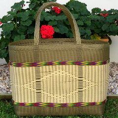 Bronze Gold and Natural Jumbo Market Basket Woven in Guatemala