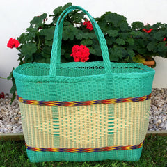Aqua and Natural Jumbo Market Basket Woven in Guatemala