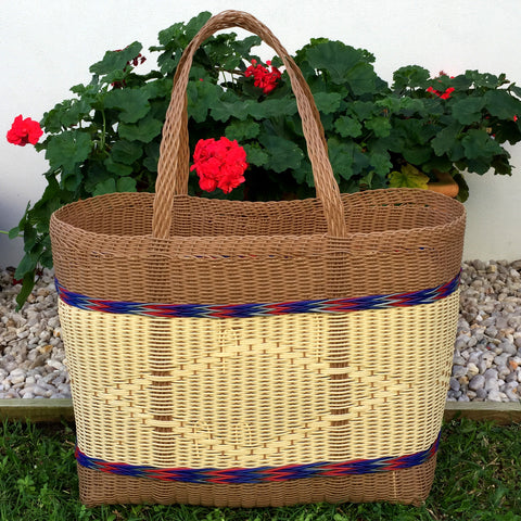 Brown and Natural Jumbo Market Basket Woven in Guatemala