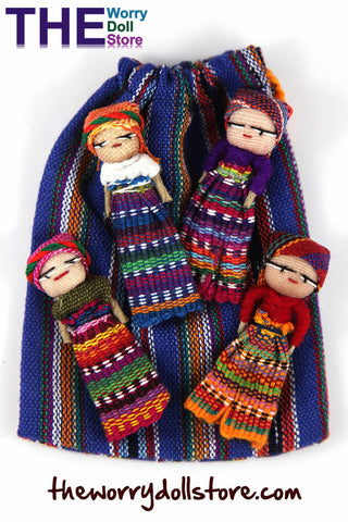 Worry Dolls in handwoven Pouch with 4 Dolls