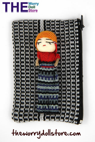 Worry Dolls Textile Zip Bag with Boy Doll