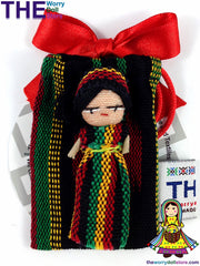 Rasta Worry Doll Girl 5cm in Handwoven Pouch