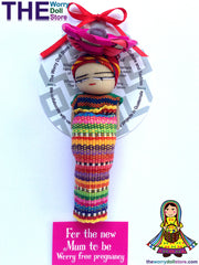 Worry Dolls Mum To Be 12cm Magnet with Basket