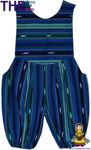 romper suit blue and green The Worry Doll Store