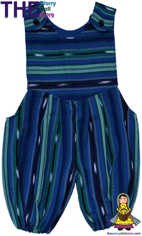 handwoven baby overalls blue and green