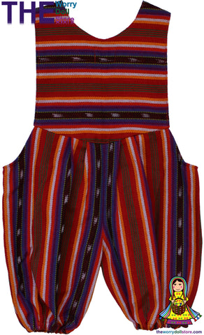 Handwoven Baby Overalls - Romper Suit Red & White from guatemala