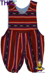 Handwoven Baby Overalls - Romper Suit Red & White australia