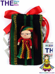 Small Rasta Worry Doll in a pouch