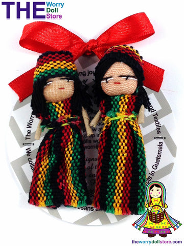 rasta couple worry dolls design