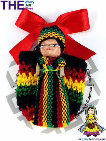 Rasta Worry Doll Girl in Knit Pouch