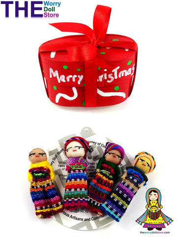 worry dolls on christmas wooden boxes