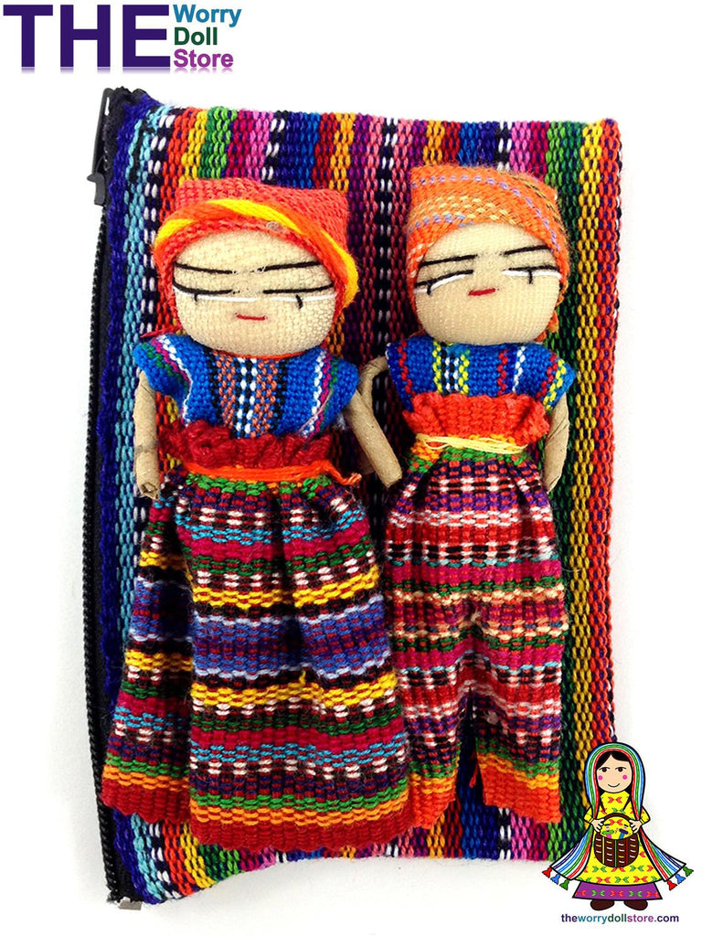 New Worry Dolls in handwoven Pouch with 4 Dolls