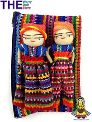 Worry Dolls Girl and Boy Doll in handwoven zip pouch