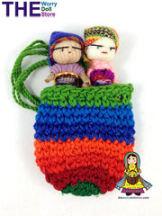Worry Dolls in Knit Pouch for Boys
