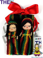 Rasta Worry Dolls 5cm Boy and Girl in Handwoven Pouch
