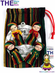 Rasta worry dolls in a pouch handmade in Guatemala.