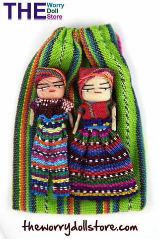Worry Dolls Girl and Boy Doll in handwoven pouch