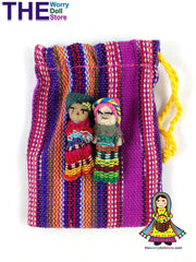 Worry Dolls in Handwoven Pouch
