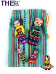 Worry Dolls Family in Handwoven Pouch