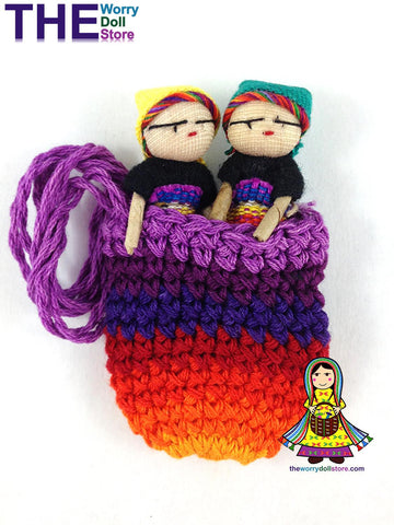 Worry Dolls in Knit Pouch with Girl Dolls