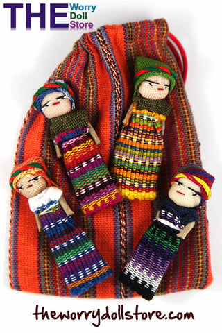 Worry Dolls in handwoven pouch with 4 girl dolls