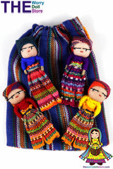 Worry Dolls in handwoven pouch with 4 boy dolls