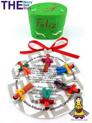 Mini Worry Dolls in Green Feliz Navidad Merry Christmas Handpainted box