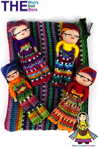 Worry Dolls in Textile Zip Pouch for Boys
