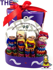 Worry Dolls in Purple Handpainted Box
