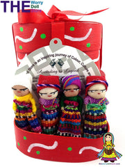 Worry Dolls in Hand Painted Red Box