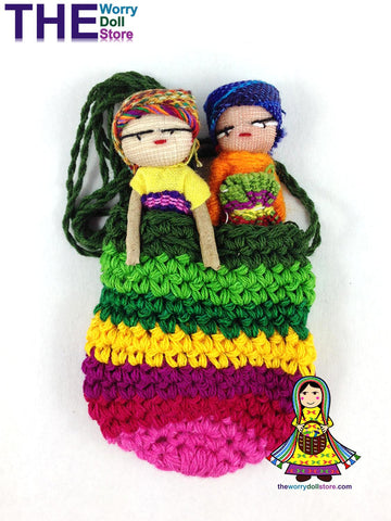 Worry Dolls in Knit Pouch for Girls