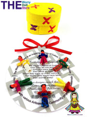 mini worry dolls in yellow wooden box