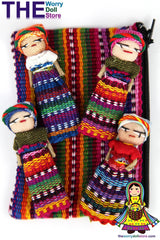 Worry Dolls in Textile Zip Pouch for Girls
