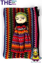 Worry Dolls Textile Zip Bag with Girl Doll
