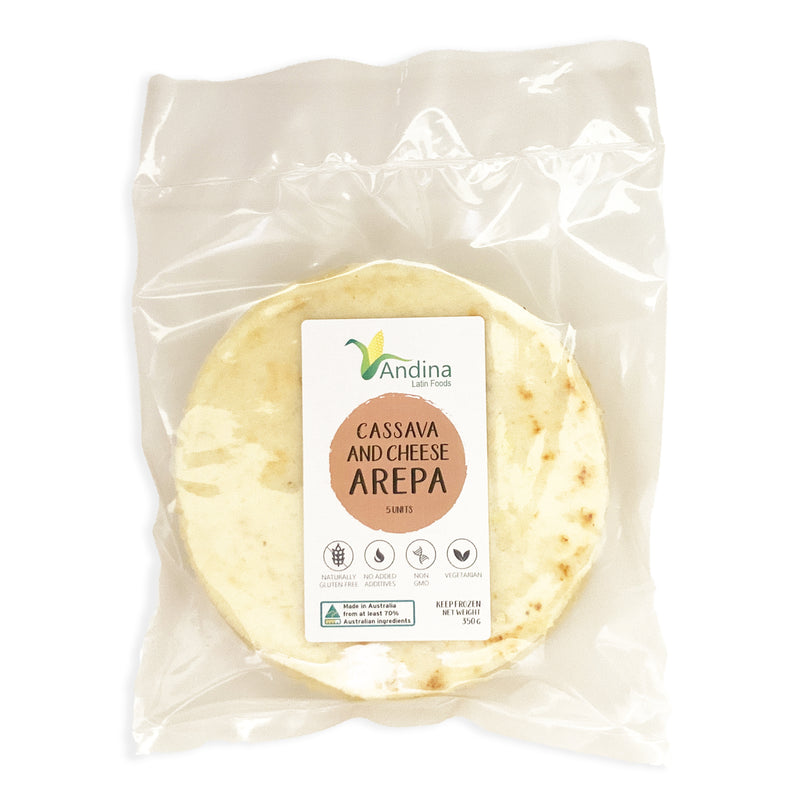 Arepa de Yuca-Queso / Cassava and Cheese Arepa. Pack 5 Units 350 grams