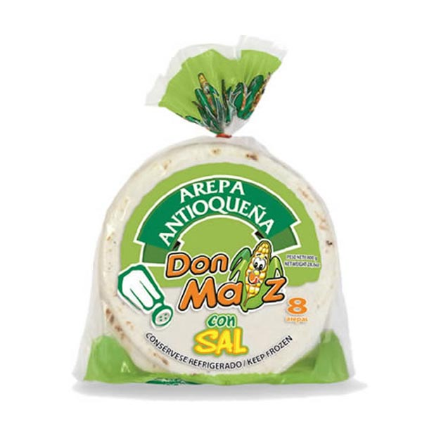 Arepa Antioquena Con Sal / White Corn Arepa  Pack 8 units