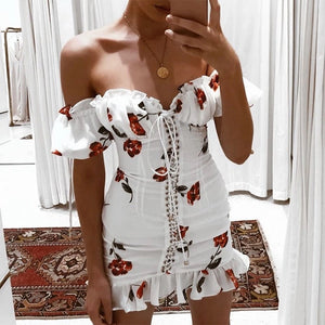 Off the shoulder mini dress with tie up front